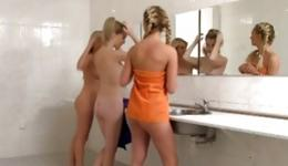 Horny babes torturing the guy who was staring at them in the shower