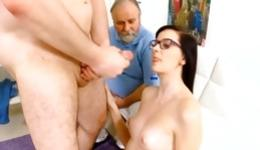 Nerd fascinating bitch is getting her clearly shaved tight vagina poked deep