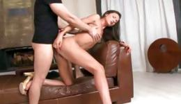 Passionate skinny brunette flashing small tits and gets ass fucked rough