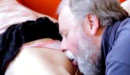 Seductive skinny young bitch is perfectly deep sucking an old schlong