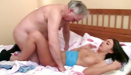 Watch on cute threesome of sexy bitch is fucked by two horny guys