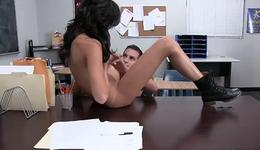 Spicy brunette gal is bending while she pounded roughly