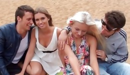 Lesbian action by the lake makes these perverted babes very horny