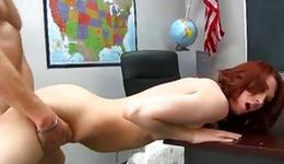 Nice-looking pair has a sassy love-making in a office