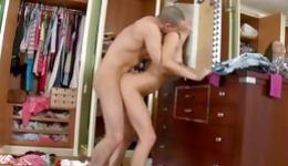 Horny brunette naked beauty riding fat huge boner seductively and hard