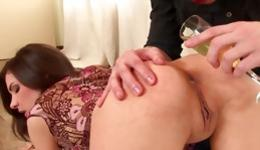 Naked whore gets on her knees and her ass hole is stretched out wide