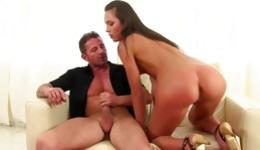 Kinky brunette with really skinny body is sucking on a fat huge rod