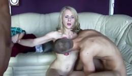One kinky blonde beauty is getting involved in a slutty threesome dirty