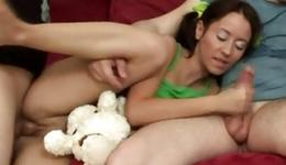 Sexy brown-haired is getting smashed by the particular two decidedly turned on fellows deep