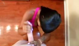 This seductive ebony babe plays with a huge and long jackhammer