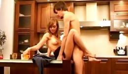 Hot babe is riding a dick of her dude and gets pounded from behind