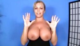 Huge breasts of this cutie are bouncing when she moves to please her male