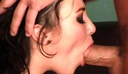 Playful brunette is riding a huge boner rough and she is swallowing it