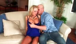 Hot blonde is getting pleased by this bald dude's huge fat boner