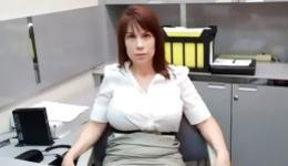 Enchanting and passionate woman giving her boss nice deep fellatio