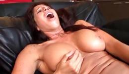 Two fabulous brunette bitches are having fun with a long dirty dildo