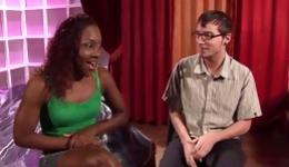 Hot ebony whore is getting fucked by this geeky dude rough and deep