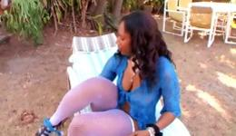 Hot ebony slut is outdoors showing off fat ass and getting pounded rough