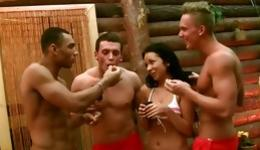 Randy foursome starring hot masters banging licentious brunette on the pool table