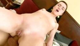 Hot brunette with small tits riding a tough dick with great pleasure