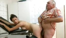 Hot and randy goddess sucking the snake of old doctor